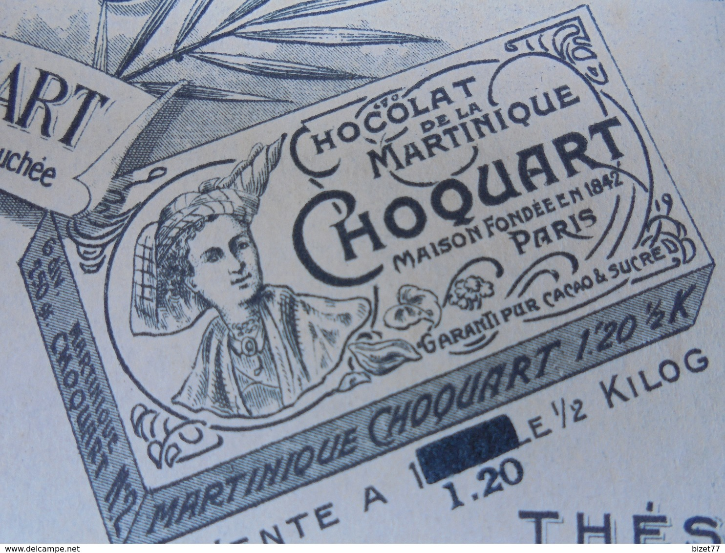 92 - NEUILLY SUR SEINE, 15 RUE DU MARCHE - CHOCOLAT CHOQUART - DECO - FACTURETTE - France
