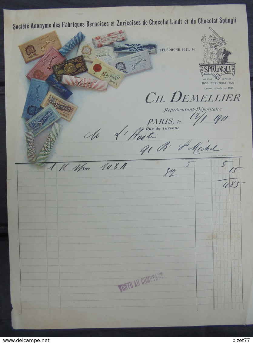 1911 - FABRIQUE BERNOISES Et ZURICOISES, Chocolat LINDT Et SPUNGLI - PARIS 23 RUE DE  TURENNE, CH. DEMELLIER - DECO - France