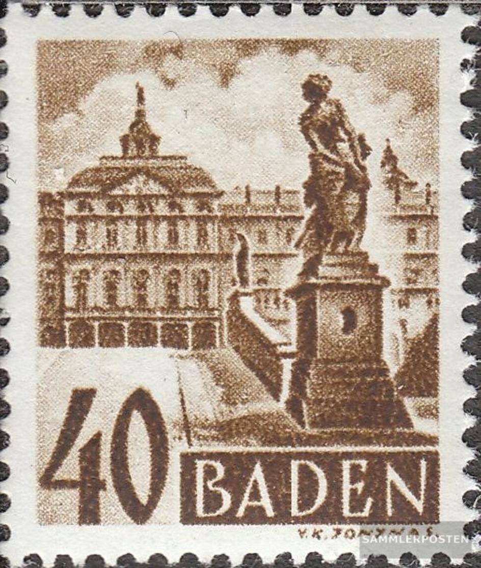 Franz. Zone-Baden 35 Con Fold 1948 Francobollo - Zona Francesa