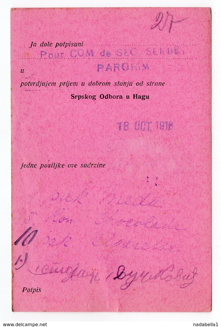 18.10.1918. WWI, GERMANY, CAMP DE PARCHIM TO HAAG, HOLLAND, POW WWI, RED CROSS SERBIAN SECTION HAAG - Germany