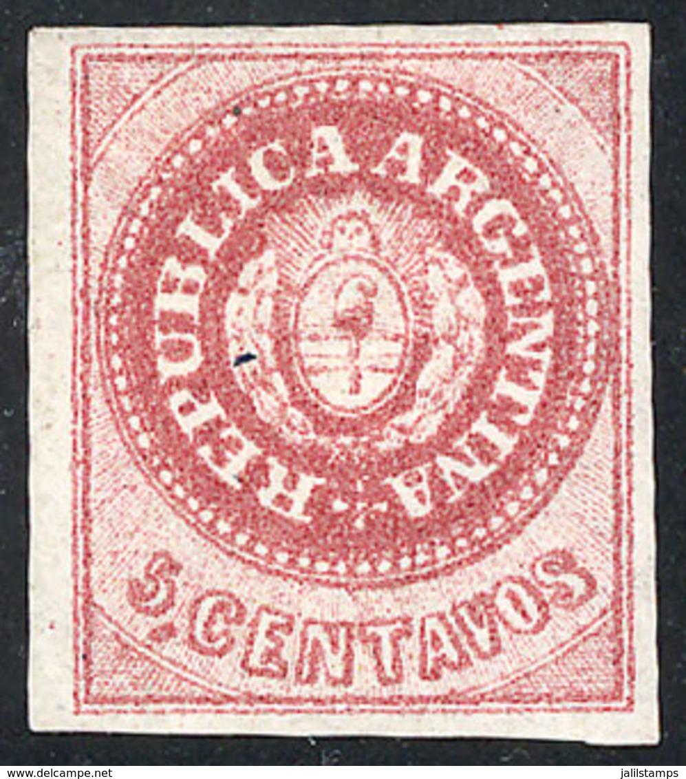 ARGENTINA: GJ.10B, 5c. Without Accent, CARMINISH ROSE Color, Mint, Excellent Quality! - Argentina