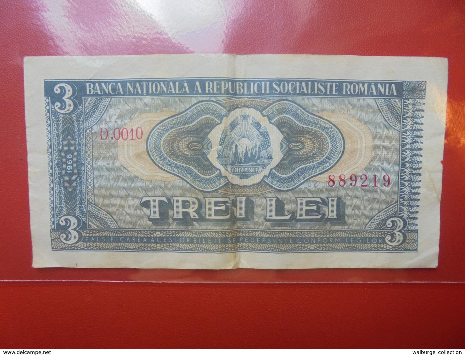 ROUMANIE 3 LEI 1966 PEU COURANT ! CIRCULER - Roumanie