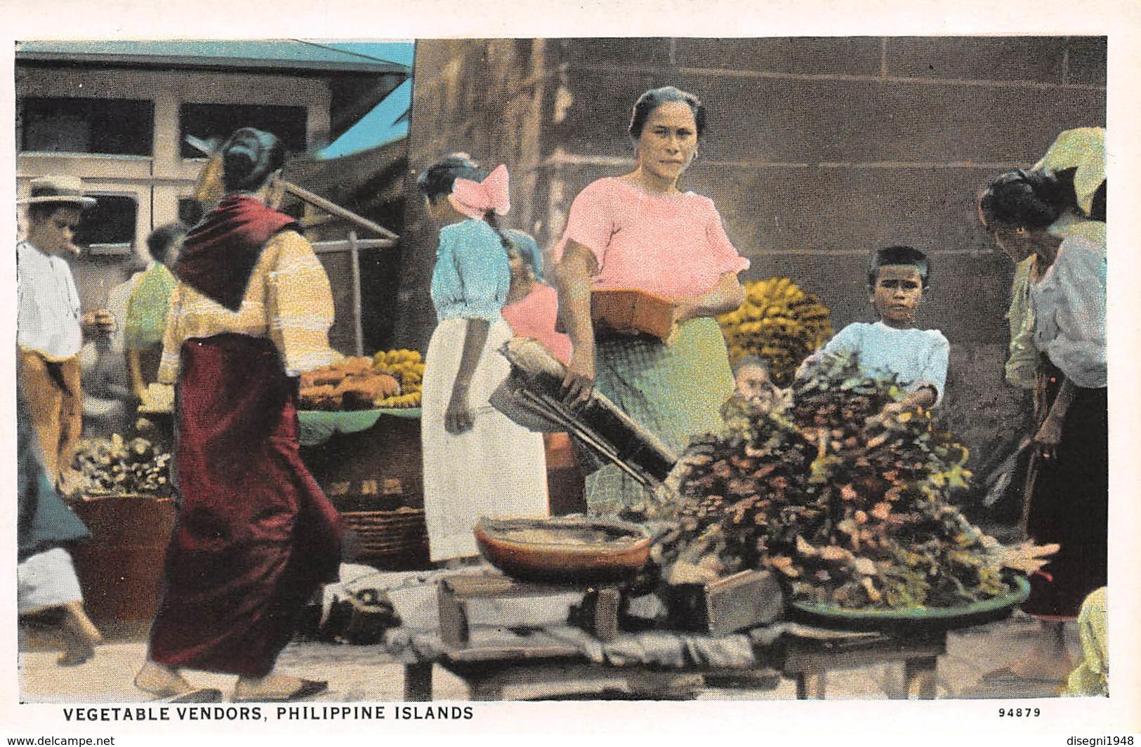 "M08442 "" VEGETABLE VENDORS-PHILIPPINE ISLANDS "" ANIMATA-MERCATO -CARTOLINA ORIG. NON SPED. - Filippine"
