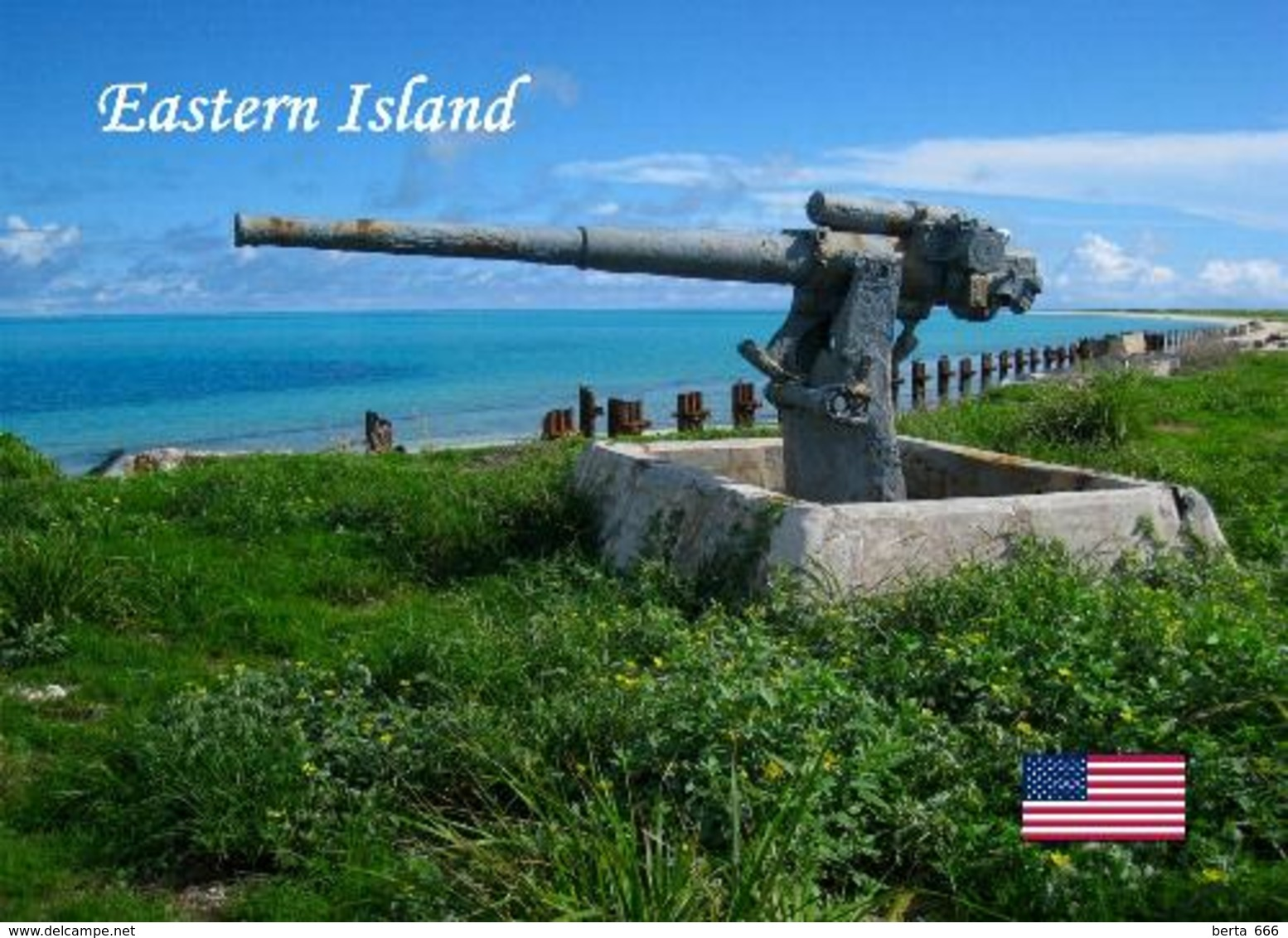Midway Atoll Eastern Island Cannon New Postcard - Midway