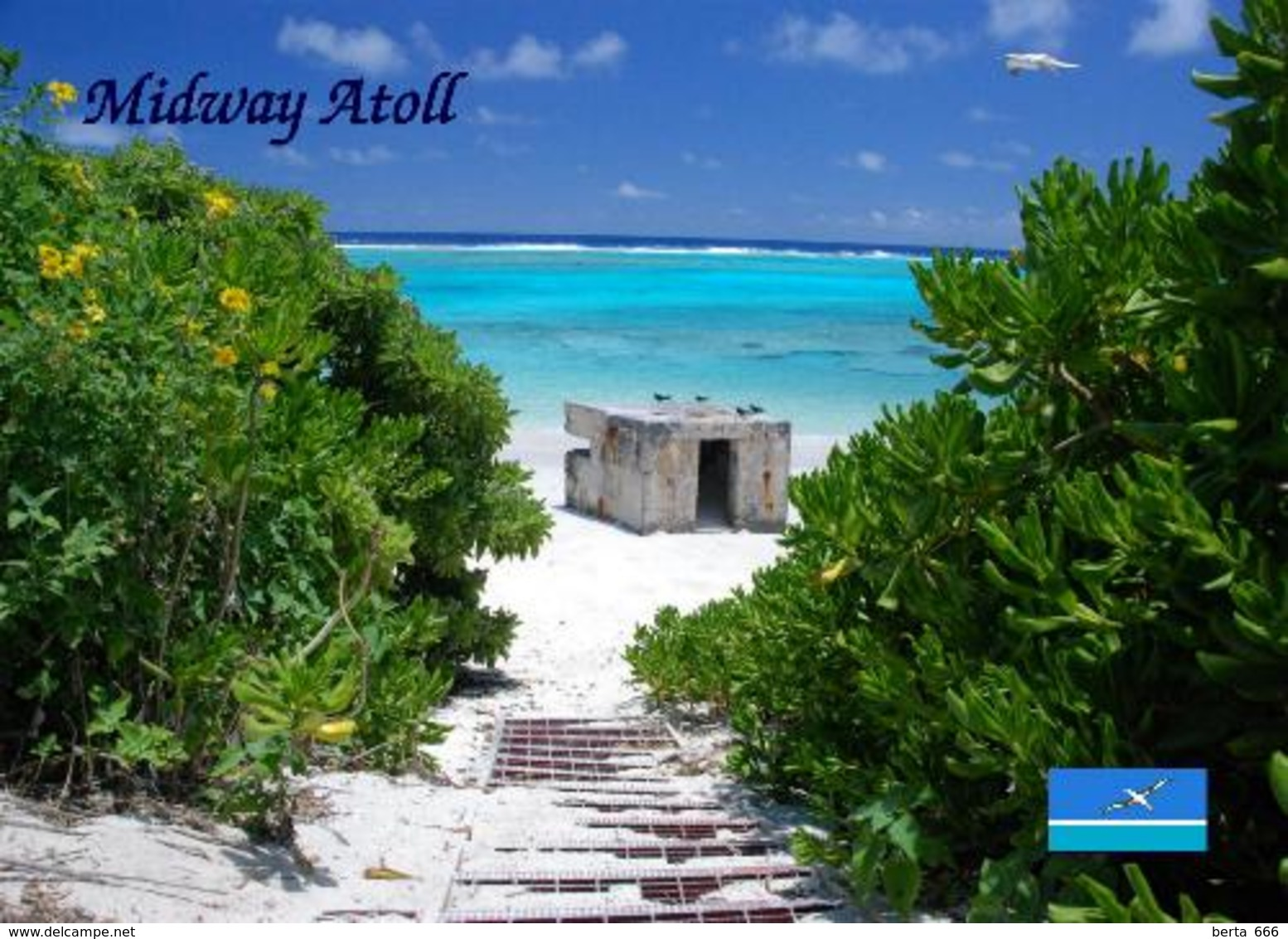 Midway Atoll Bunker New Postcard - Isole Midway