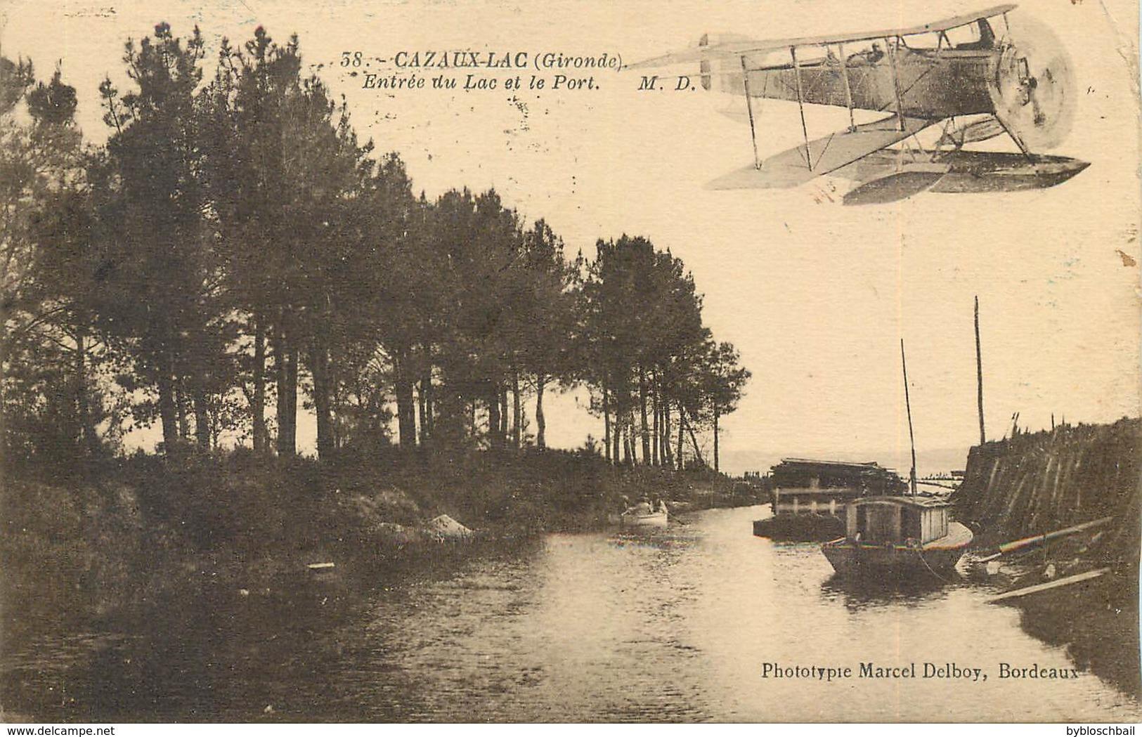 CPA 33 Gironde Cazaux Lac Entrée Du Lac Et Le Port Hydravion Avion - France
