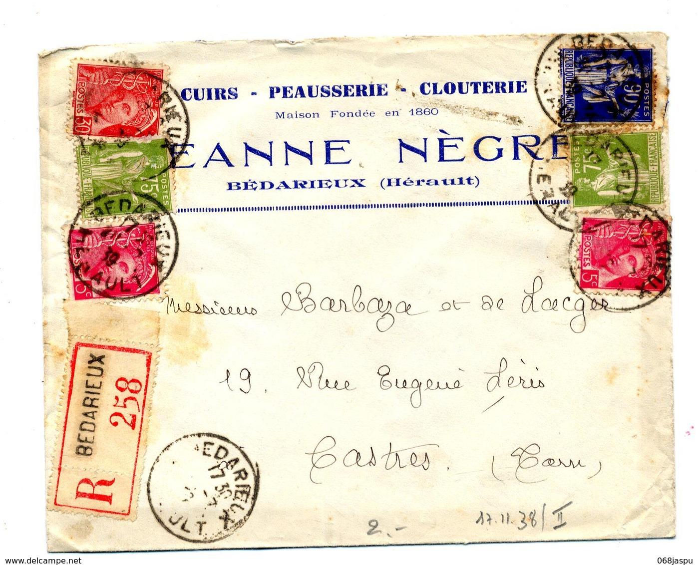 Lettre Recommandée Bedarieux Sur Mercure Paix  Entete Cuir Negre - Postmark Collection (Covers)