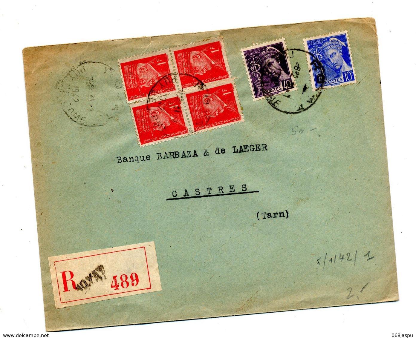 Lettre Recommandée Royat Sur Carre  Petain Mercure - Manual Postmarks