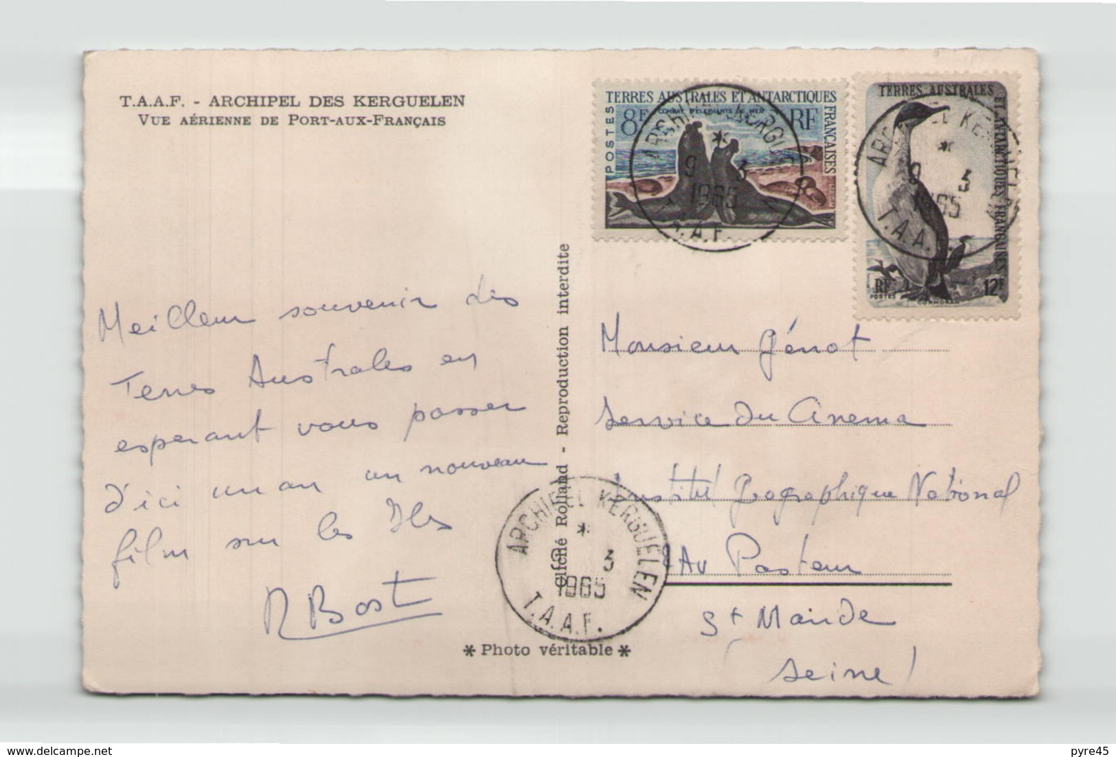 TAAF ARCHIPEL DES KERGUELEN VUE AERIENNE DE PORT AUX FRANCAIS SIGNE RENE BOST 1965 - TAAF : French Southern And Antarctic Lands