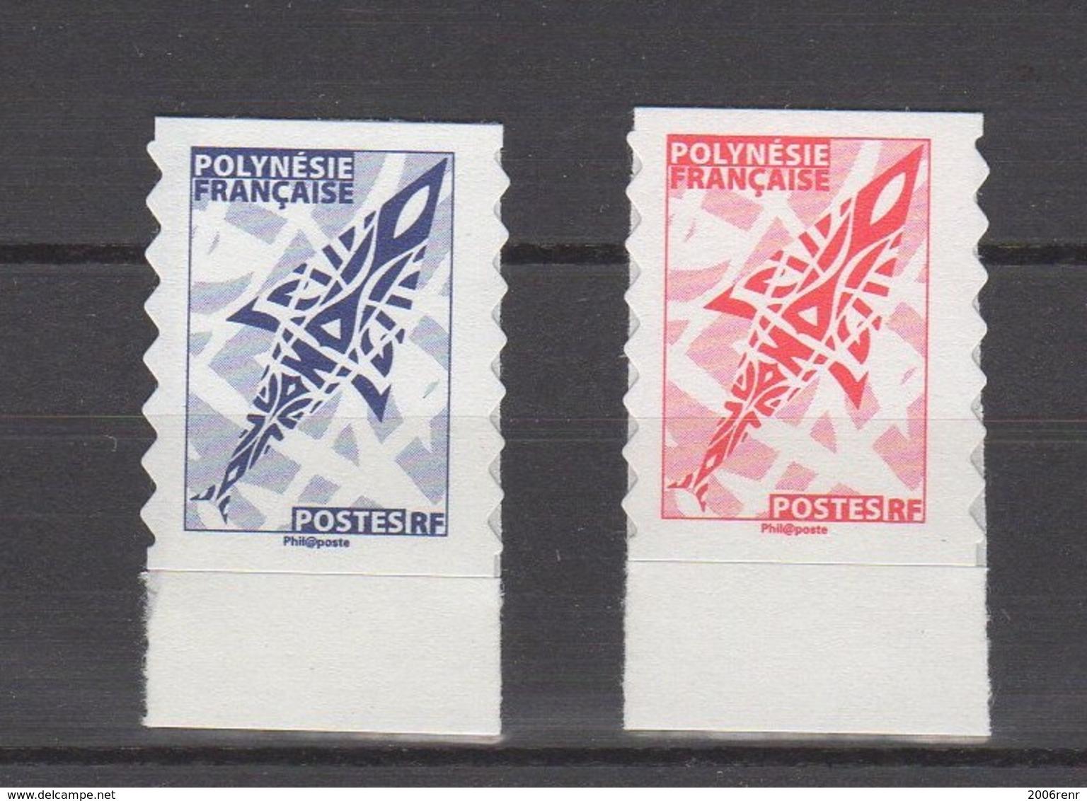 Polynésie. 2 TP AUTOCOLLANTS. PROVENANT DE CARNETS. ROUGE, BLEU VOIR DESCRIPTION. - Markenheftchen