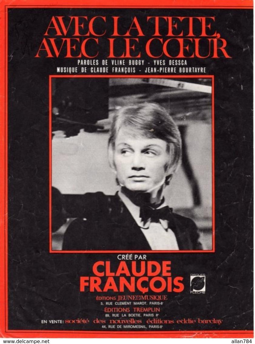 PARTITION CLAUDE FRANCOIS - AVEC LA TETE AVEC LE COEUR - 1968 - BON ETAT - - Music & Instruments