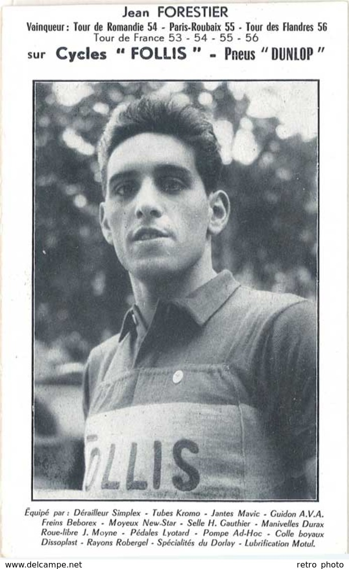 Carte Sport – Cyclisme Jean Forestier Sur Cycles «  Follis « Pneus Dunlop  ( SPO ) - Cyclisme