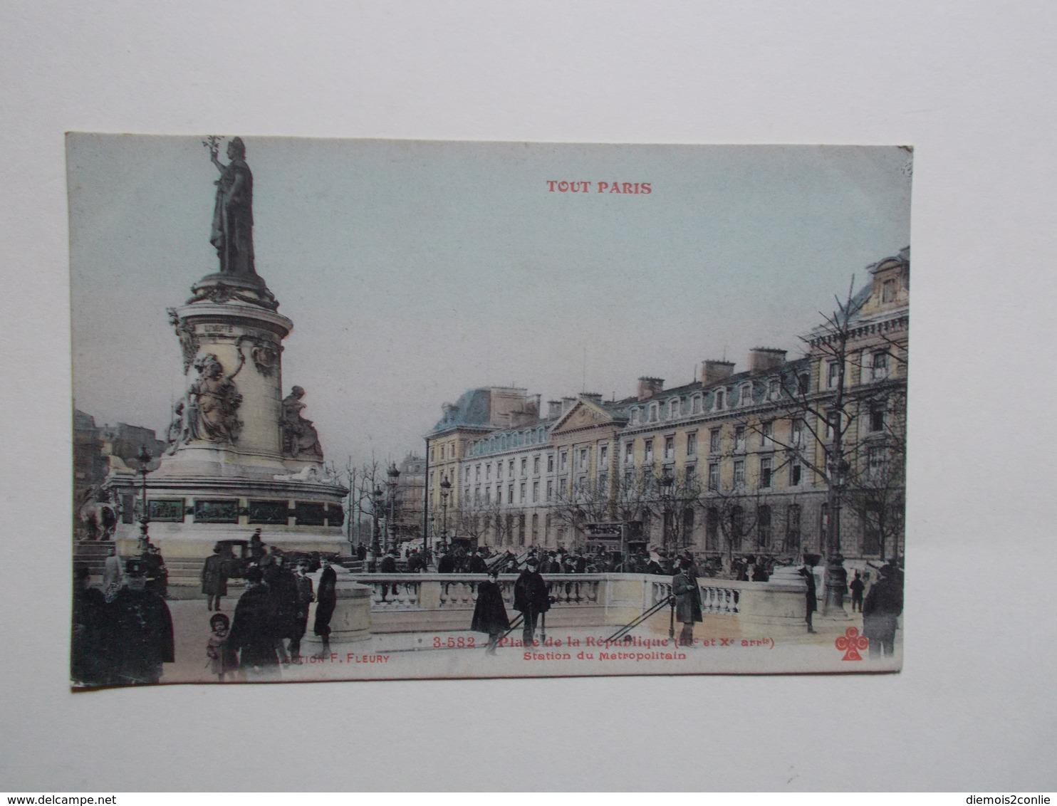 Carte Postale - PARIS (75) - Place De La République - Station Du Metropolitain (2948) - Arrondissement: 10