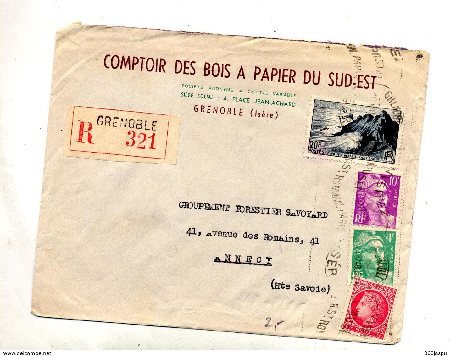 Lettre Recommandee Grenoble Flamme Musee Sur Raz Gandon Ceres - Marcophilie (Lettres)