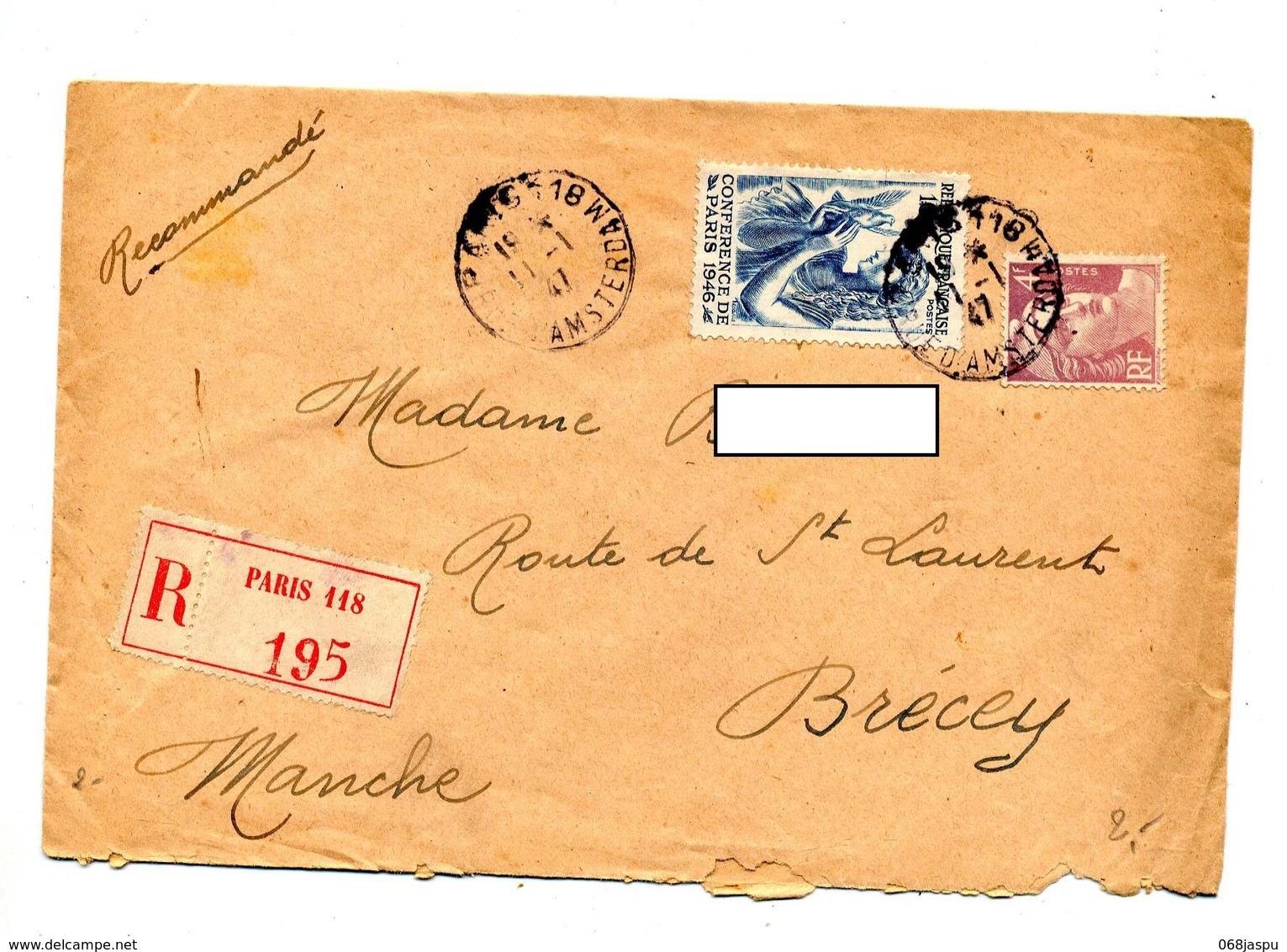 Lettre Recommandee Paris 118 Sur Conference - Marcophilie (Lettres)