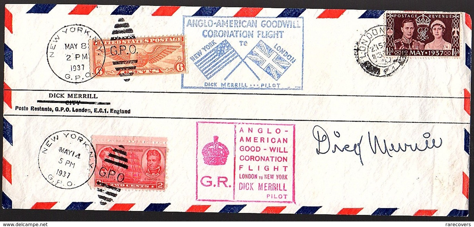 Signed By Pilot: DICK MERRILL 1937 Anglo-American Good-will Flight To New York (560) - 1902-1951 (Reyes)