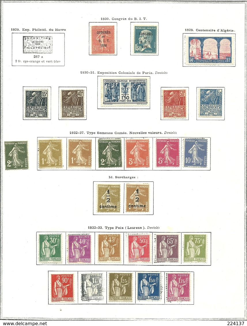 FRANCE NEUFS SUR PAGES 1900 A 1970 - Stamps