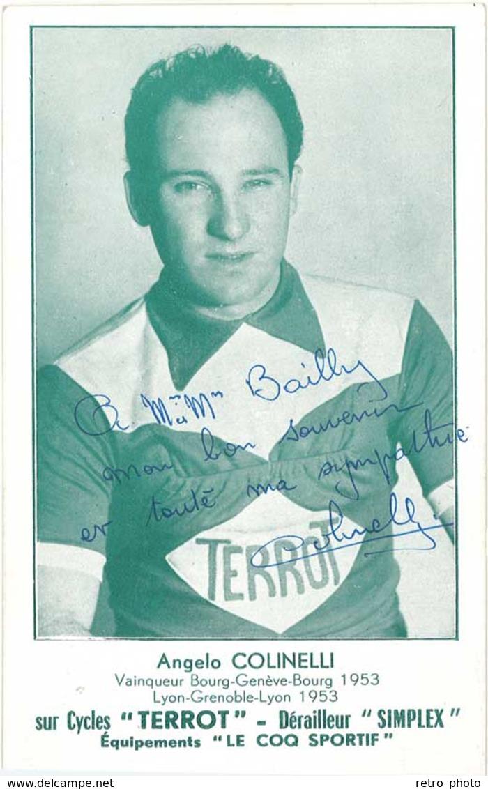 Carte Sport – Cyclisme – Angelo Colinelli Sur Cycles Terrot …( Autographe )  ( SPO ) - Cyclisme