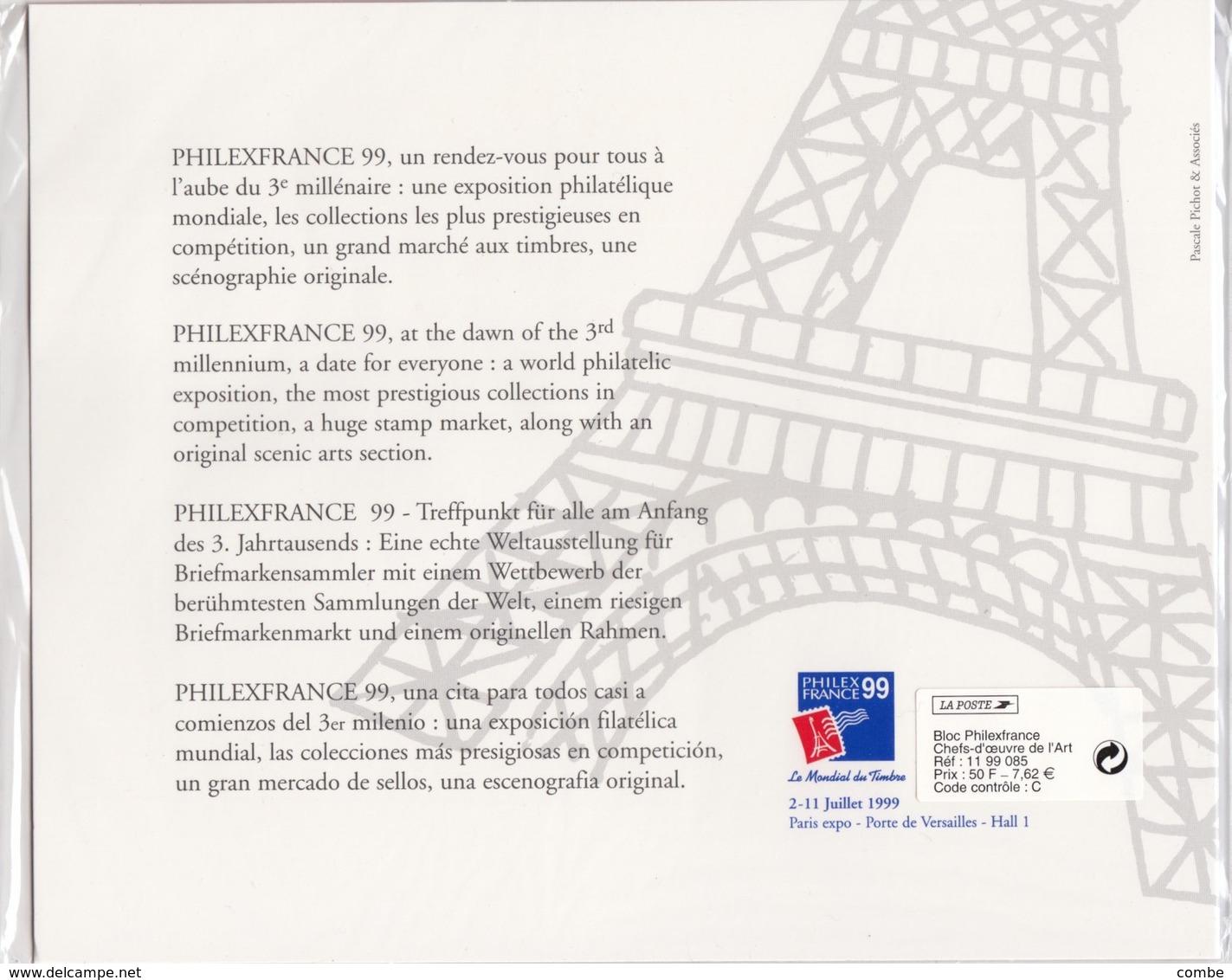 CHEF D'OEUVRE DE L'ART. PHILEX 99. NEUF SOUE BLISTER / 6000 - Sheetlets