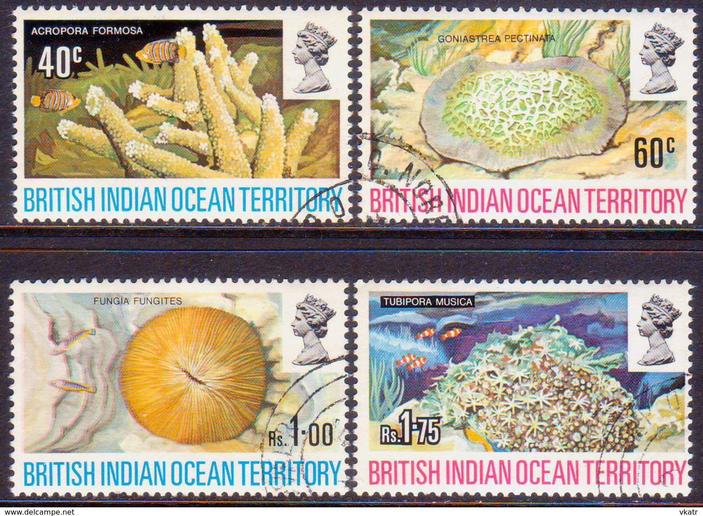 British Indian Ocean Territory 1972 SG #41-44 Compl.set Used Coral - Britisches Territorium Im Indischen Ozean