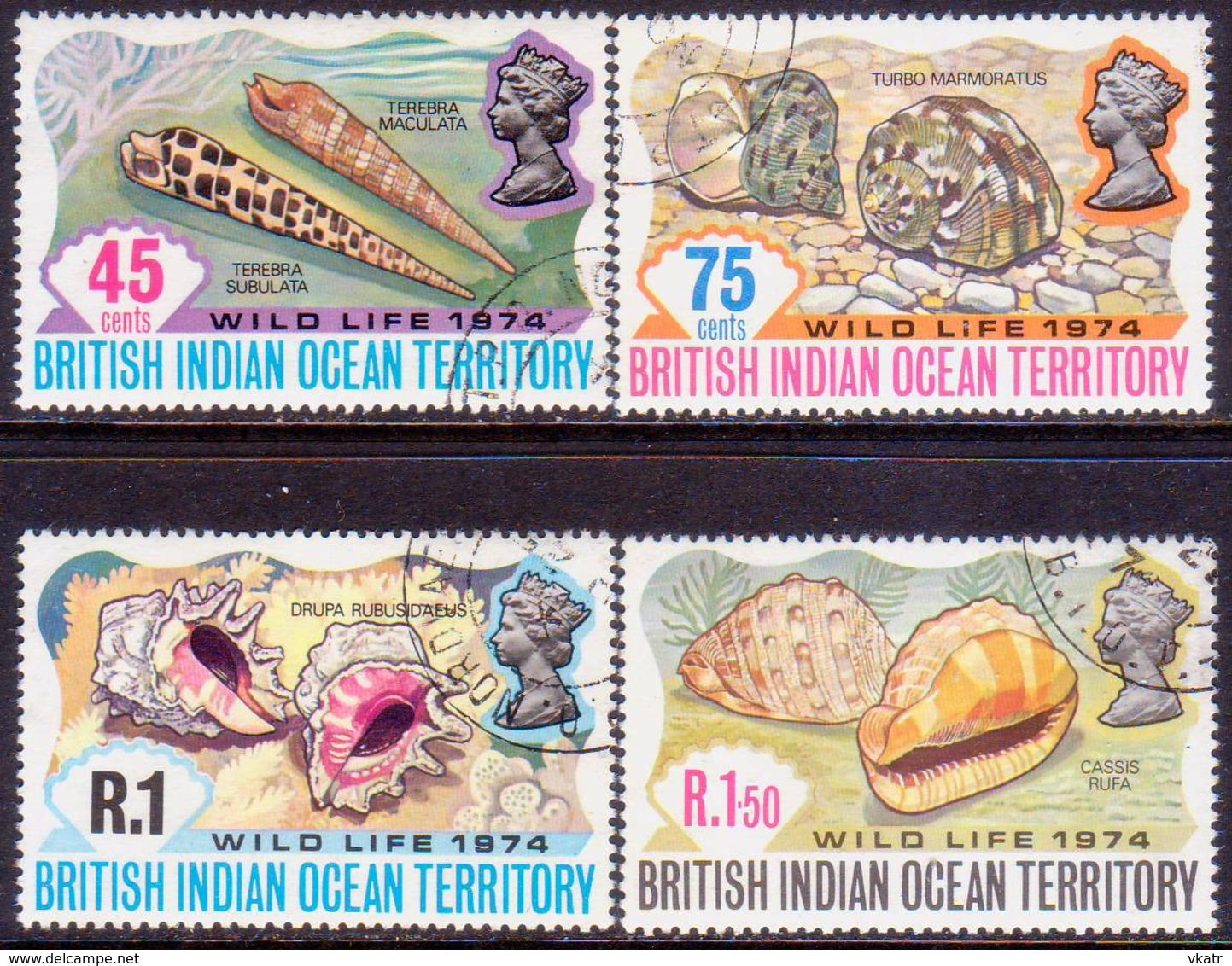 British Indian Ocean Territory 1974 SG 58-61 Compl.set Used Wildlife (2nd Series) - British Indian Ocean Territory (BIOT)