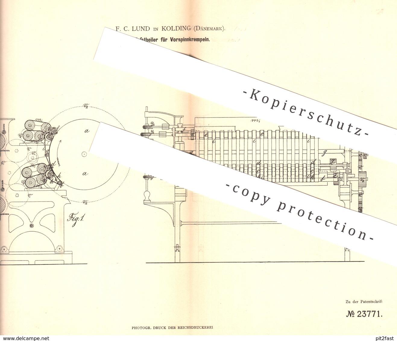 Original Patent - F. C. Lund , Kolding , Dänemark , 1883 , Vliesteiler Für Vorspinnkrempeln | Spinnen , Spinnmaschine - Historische Dokumente