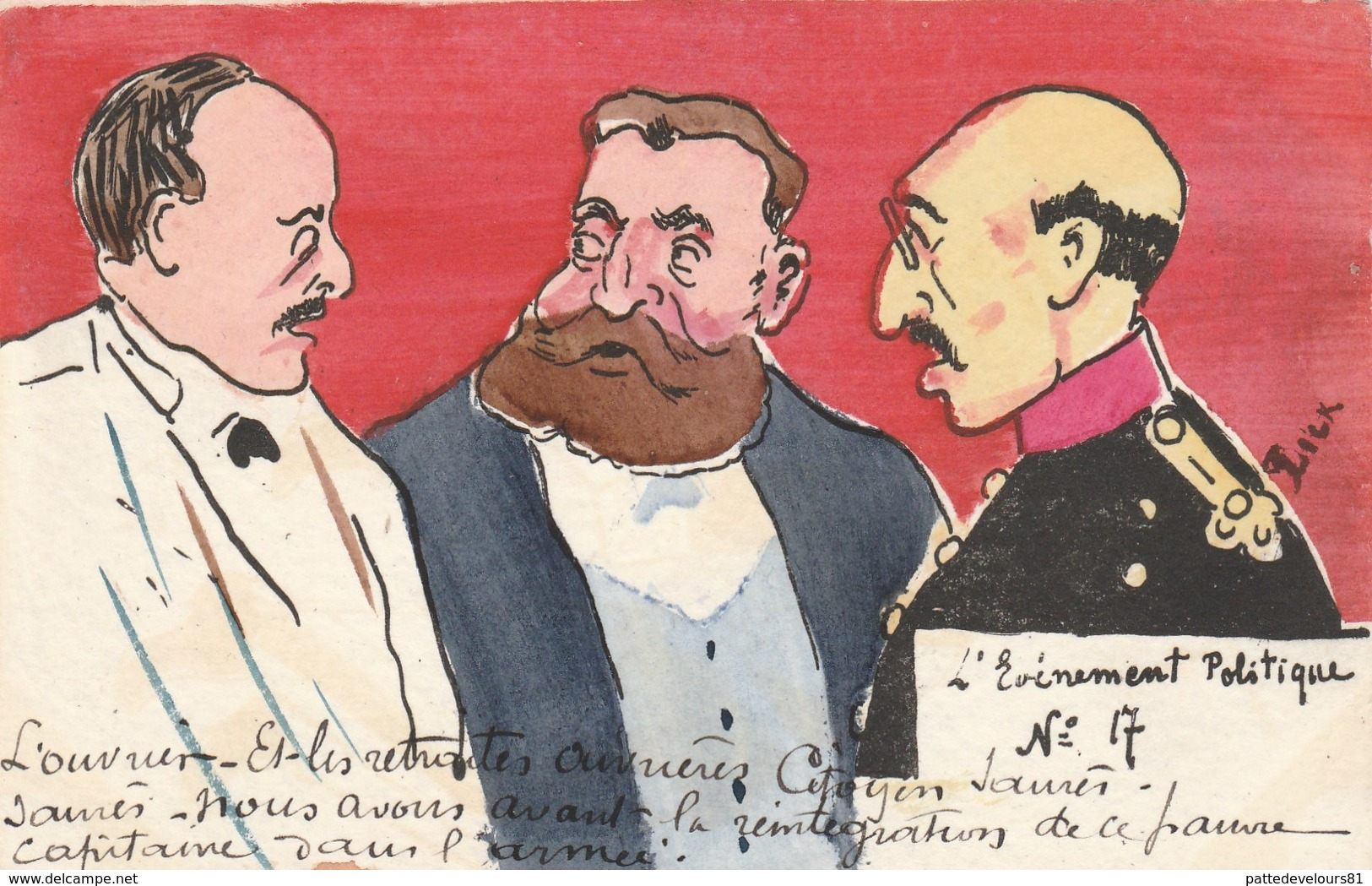 """CPA Peinte à La Main Caricature Satirique JAURES  """"L' Evènement Politique"""" N° 17 Illustrateur LICK - Satiriques"""