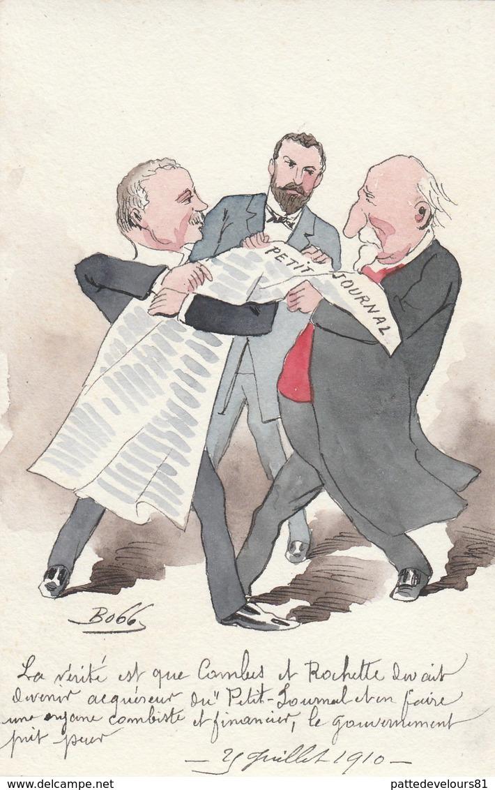 """CPA  Peinte à La Main Caricature Satirique Politique COMBES / ROCHETTE """"Petit Journal"""" Illustrateurr BOBB - Personnages"""