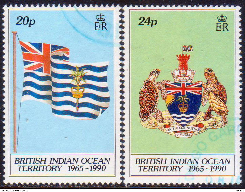 British Indian Ocean Territory 1990 SG 108-09 Compl.set Used 25th Anniv Of BIOT - Territorio Británico Del Océano Índico