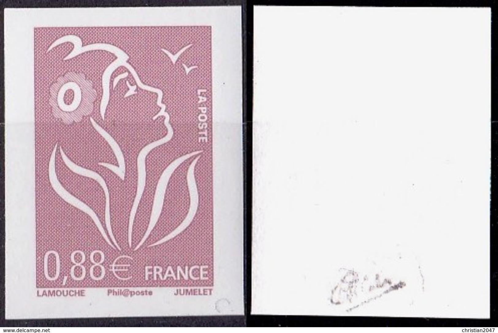 VARIETE N°4155 MARIANNE DE LAMOUCHE  0,88 LILAS-BRUN NON DENTELE SANS PHOSPHORE TOTAL  SIGNE CALVES LUXE** - Varieties: 2000-09 Mint/hinged