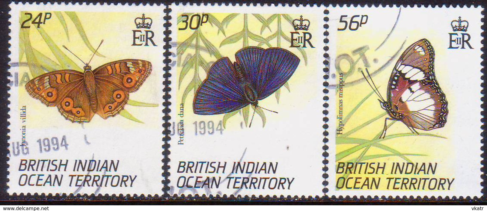 British Indian Ocean Territory 1994 SG 152-54 Compl.set Used Butterflies - British Indian Ocean Territory (BIOT)