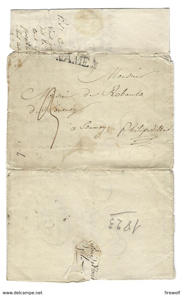 B25 - Belgium - 1823 - Letter With Content - Floreffe To Philipeville - Cancel Namen - 1815-1830 (Dutch Period)