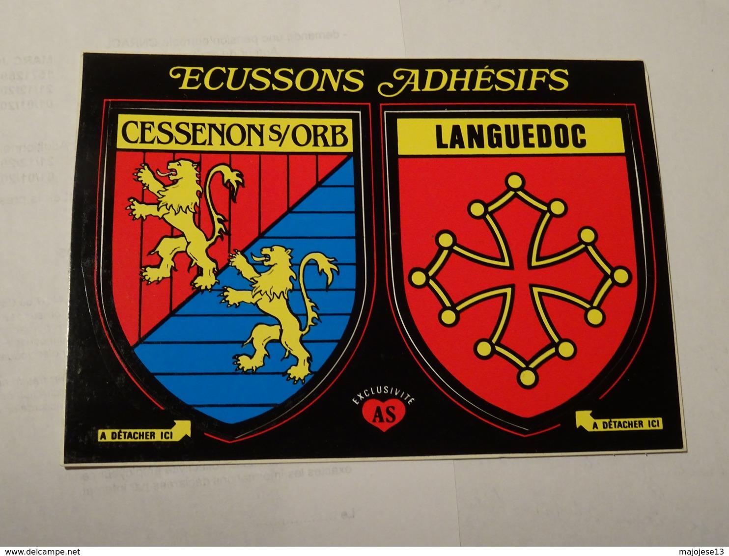 Carte Double Blason écusson Adhésif Autocollant Sticker Cessenon Sur Orb Et Languedoc Adesivi Stemma Aufkleber Wappen - Obj. 'Herinnering Van'