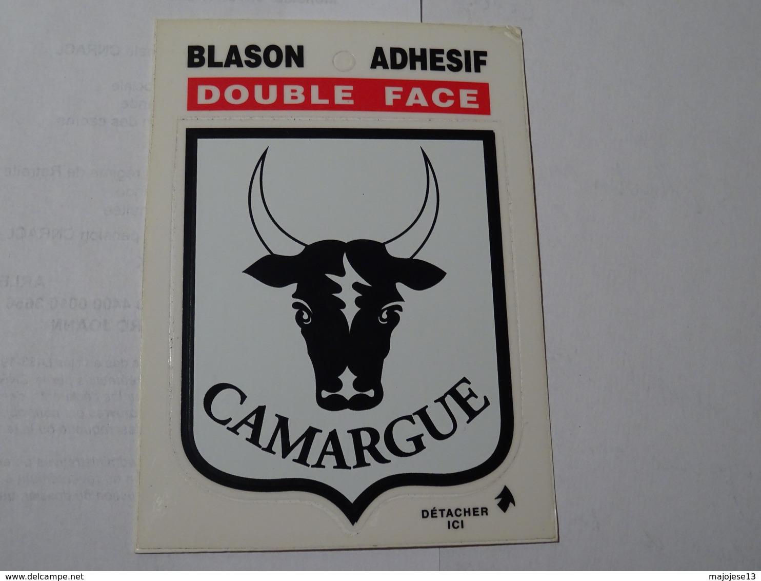 Blason écusson Autocollant Adhésif Sticker Camargue, Tête De Taureau, Aufkleber Wappen, Adesivi Stemma - Obj. 'Souvenir De'