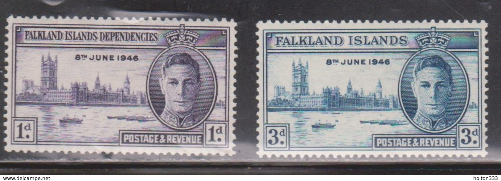 FALKLAND ISLANDS Scott # 97-8 MH - KGVI Peace Issue - Falkland Islands