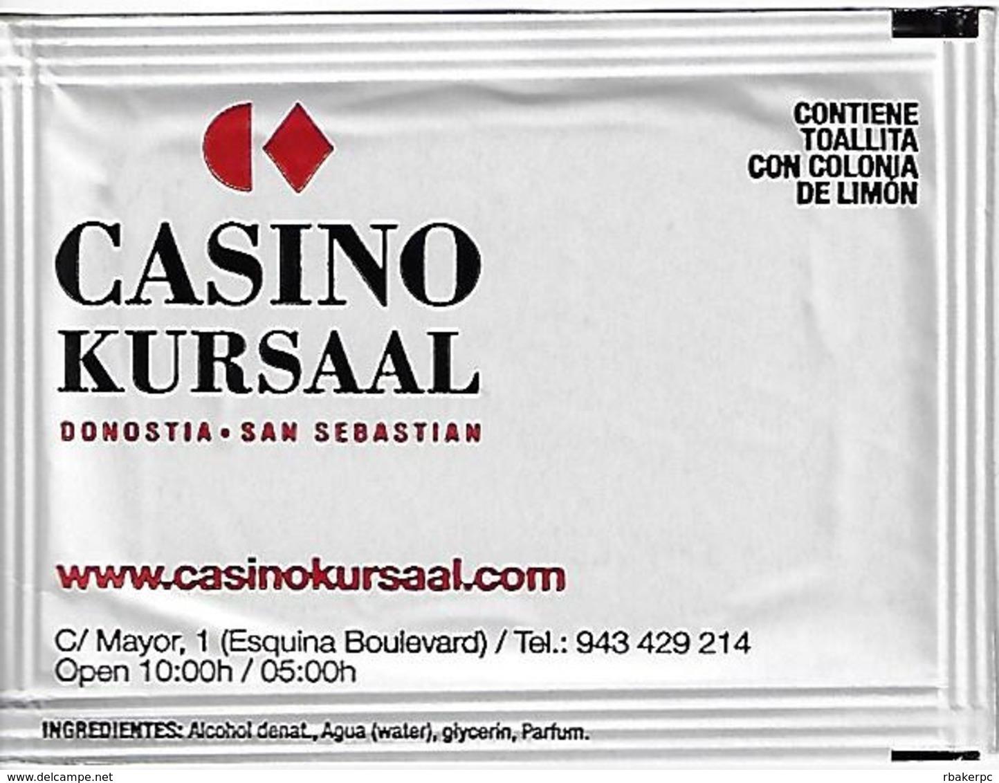 Casino Kursaal San Sebastian Spain - Hand Wipe Packet - Casino Cards