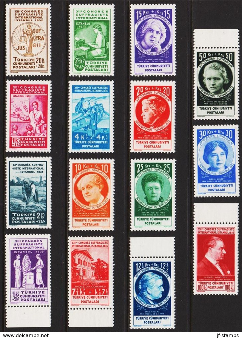 1935. XIIme CONGRES SUFFRAGISTE INTERNATIONAL ISTANBUL 1935. Complete Set With 15 Sta... (Michel 985-999) - JF303714 - Nuevos