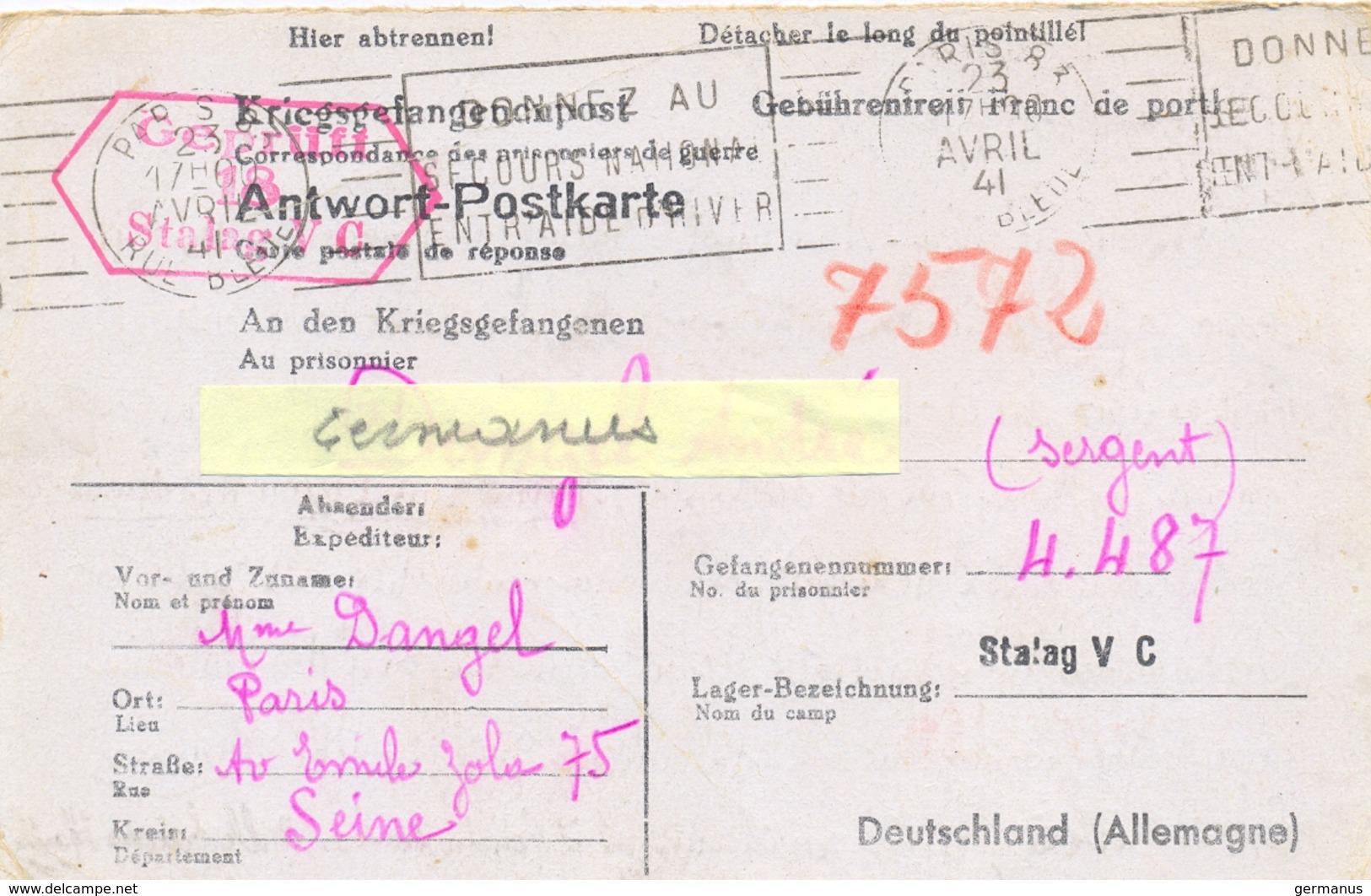 GUERRE 39-45 CARTE RÉPONSE Au Prisonnier STALAG V C Wildberg Allemagne – Paris Le 23-4-41 - Guerre De 1939-45