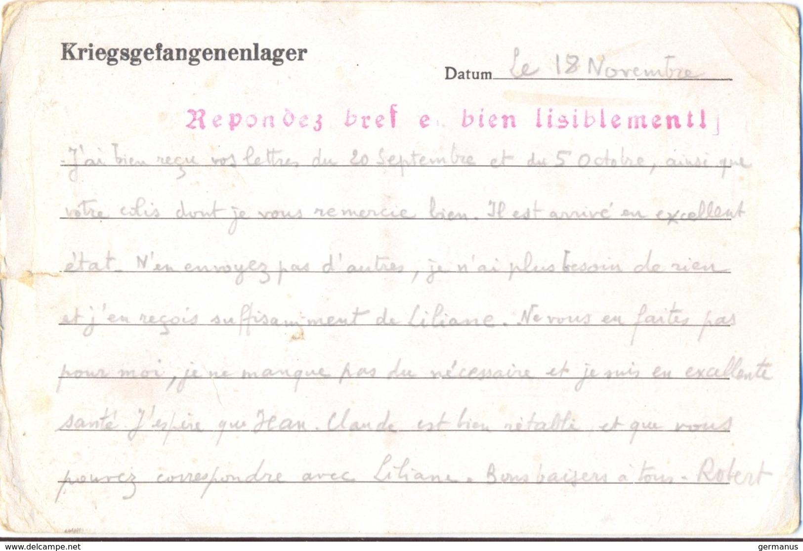 GUERRE 39-45 POSTKARTE Oflag X B Nienburg/Weser + Griffe Rouge « Repondez Bref Et Bien Lisiblement » Du 18-11-40 - Guerre De 1939-45