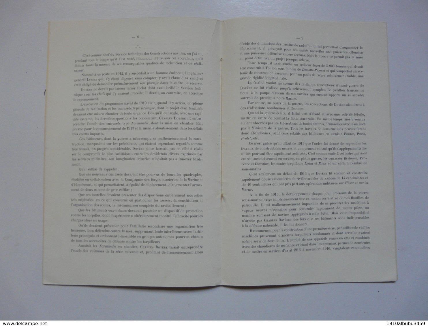 Association Technique Maritime Et Aéronautique : L'ingénieur Général Du Génie Maritime CHARLES DOYERE (dédicacé) - Livres Dédicacés