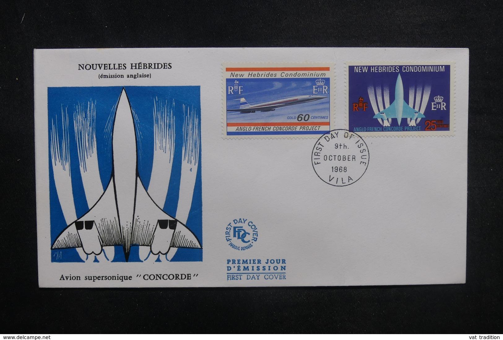 NOUVELLES HÉBRIDES - Enveloppe FDC 1968 - Concorde - L 37821 - FDC