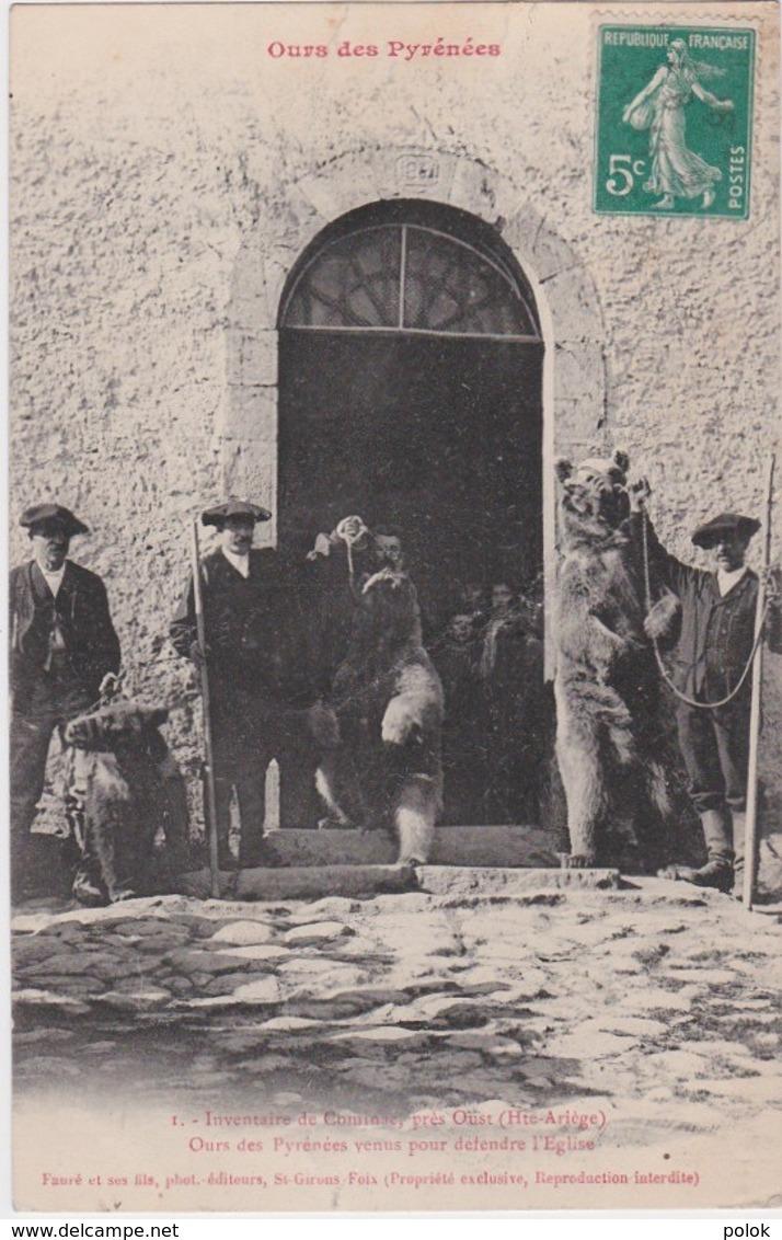 Bv - Cpa Inventaire De Cominac, Près OUST (Haute Ariège) - Ours Des Pyrénées Venus Pour Défendre L'Eglise - Oust