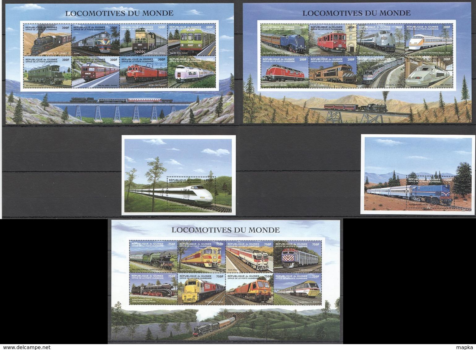 V357 DE GUINEE TRANSPORTATION TRAINS LOCOMOTIVES DU MONDE 3KB+2BL MNH - Eisenbahnen
