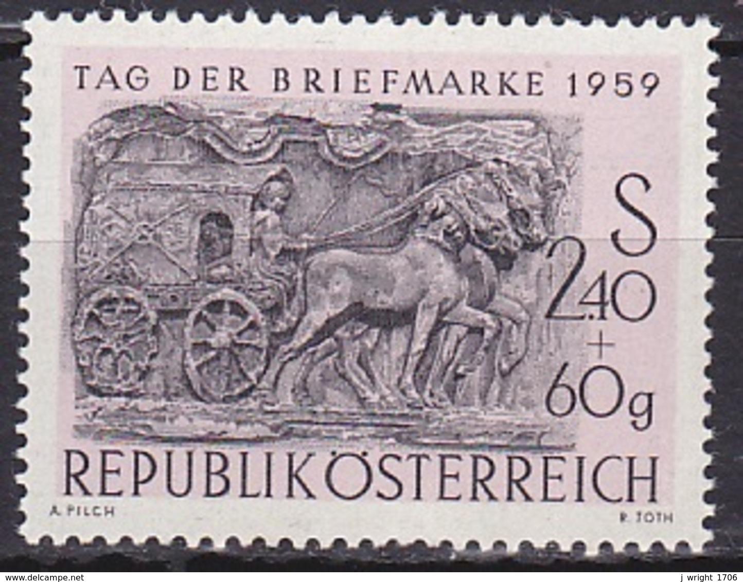 Austria/1959 - Stamp Day/Tag Der Briefmarke - 2.40 S + 80 Gr - MNH - 1945-60 Ungebraucht