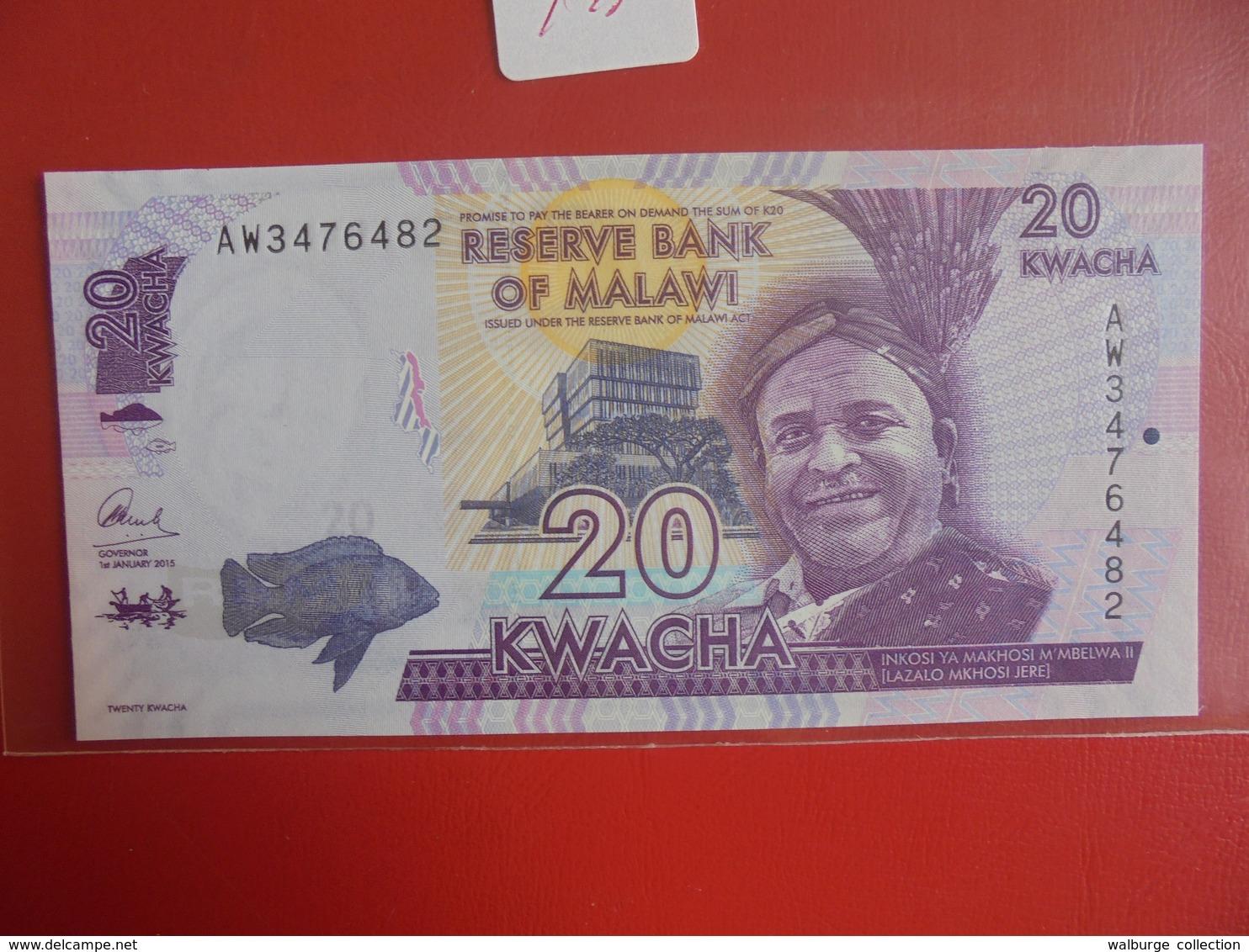 MALAWI 20 KWACHA 2015 PEU CIRCULER/NEUF - Malawi