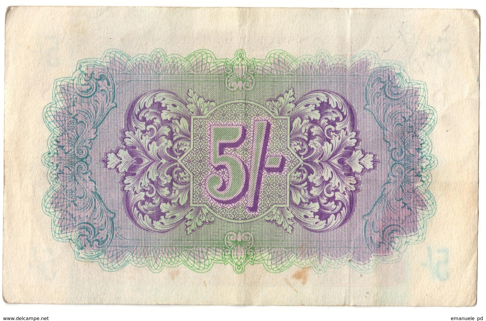 British Military Authority 5 Shillings 1943 - Emissioni Militari