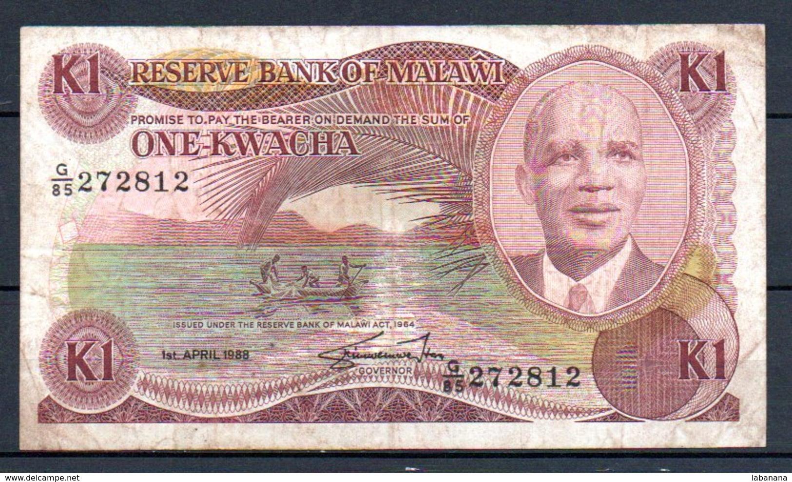 329-Malawi Billet De 1 Kwacha 1988 G85 - Malawi