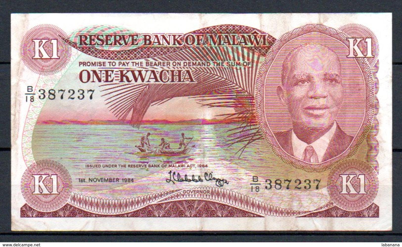 329-Malawi Billet De 1 Kwacha 1984 B18 - Malawi