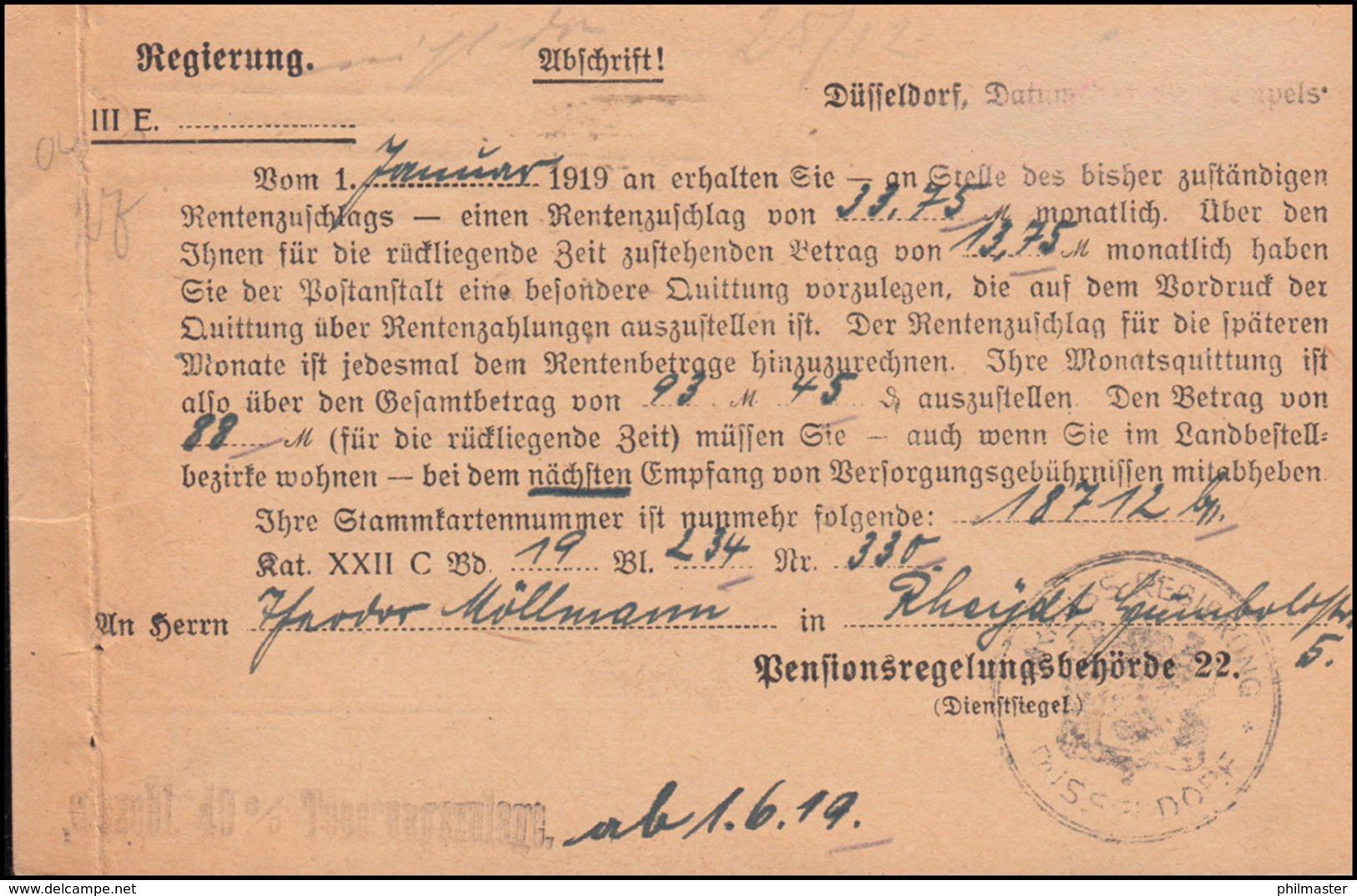 Belgische Zensur 15 Auf Heeressache Regierung DÜSSELDORF 23.6.1919 Nach Rheydt - Briefmarken