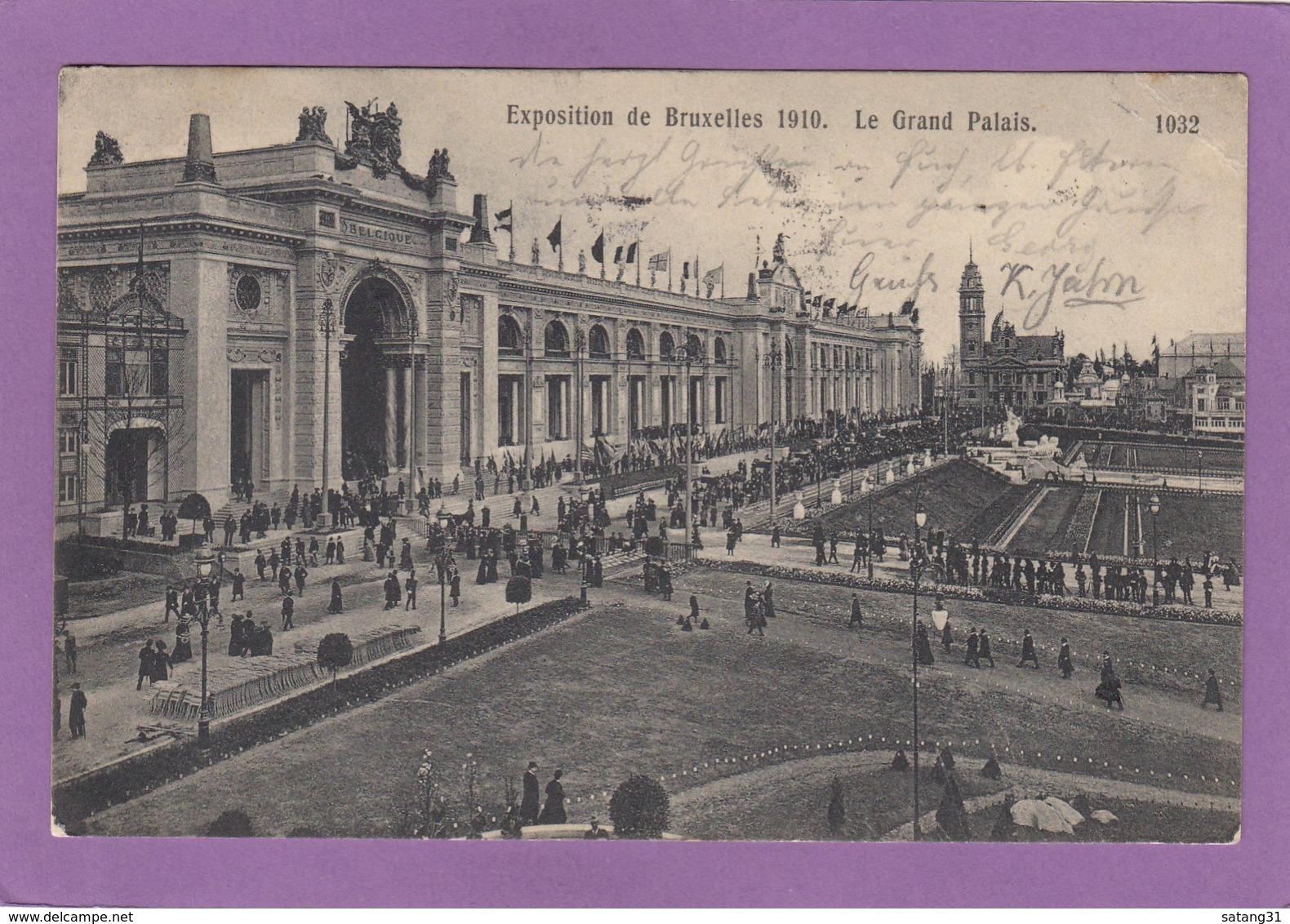 """CARTE POSTALE ET VIGNETTE """"EXPOSITION DE BRUXELLES,1910"""". - Erinnophilie - Reklamemarken"""